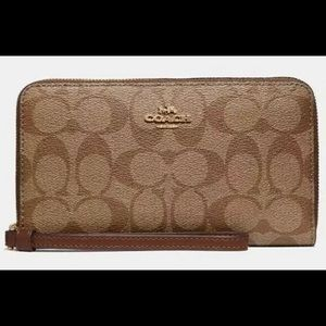 Coach Large Phone Wallet In Signature Canvas Khaki